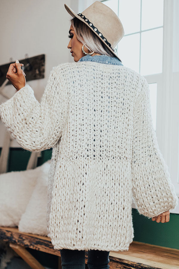 Craving Cozy Chunky Knit Cardigan in Ivory