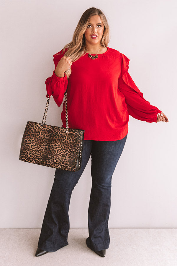 Better With Merlot Ruffle Shift Top in Red
