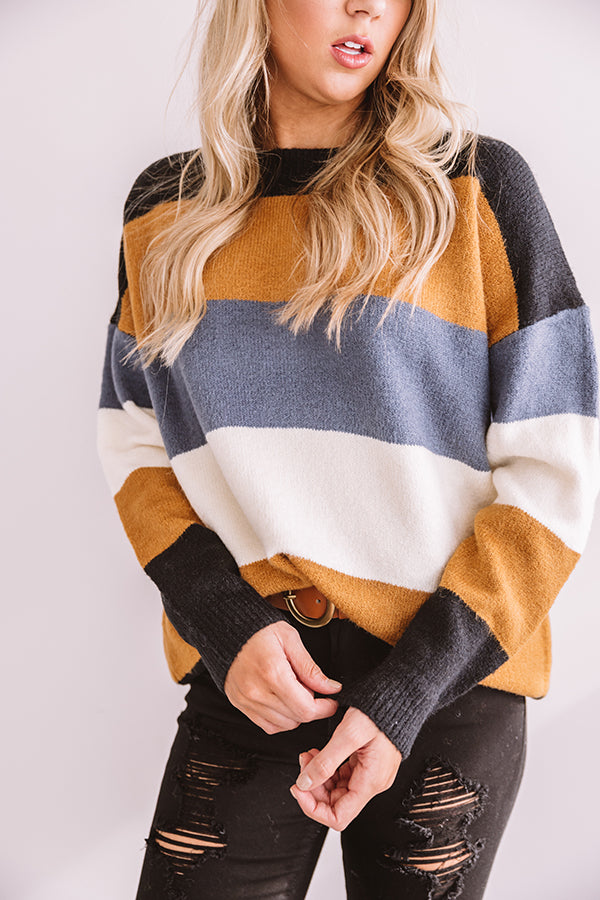 Skis Please Color Block Tunic Sweater in Camel