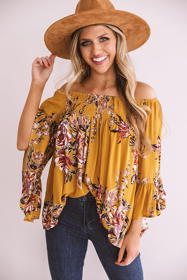 Floral Thrill Off Shoulder Top In Primrose Yellow