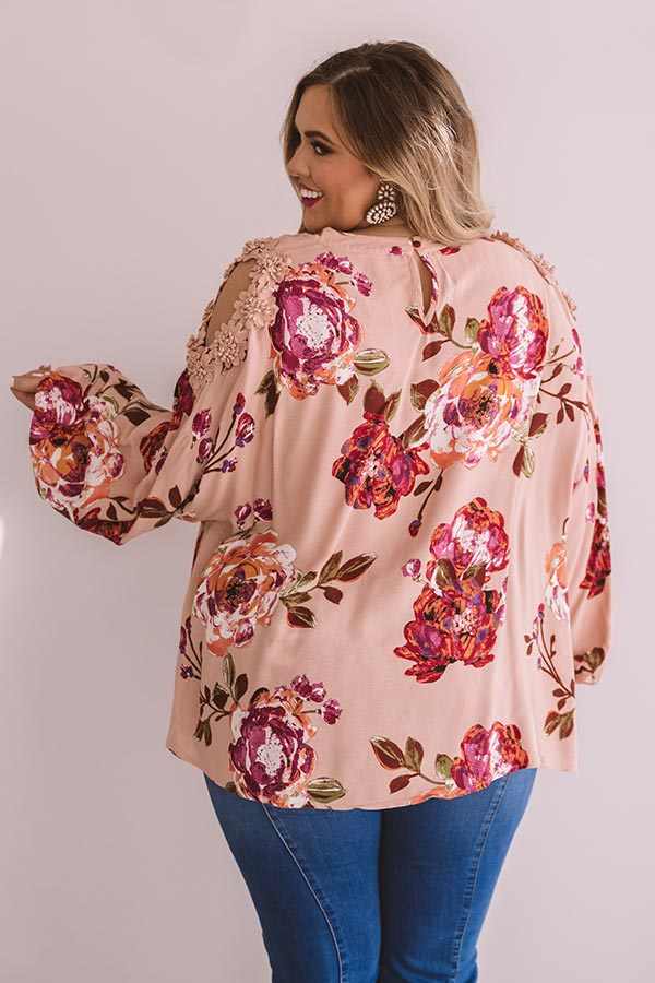 Floral Debut Shift Top In Blush