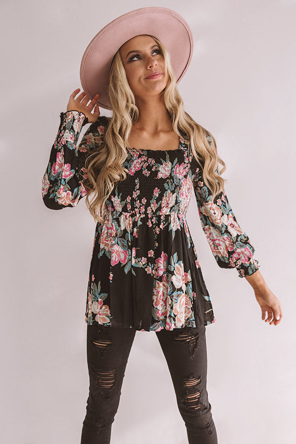 Romance On Repeat Floral Shift Top In Black
