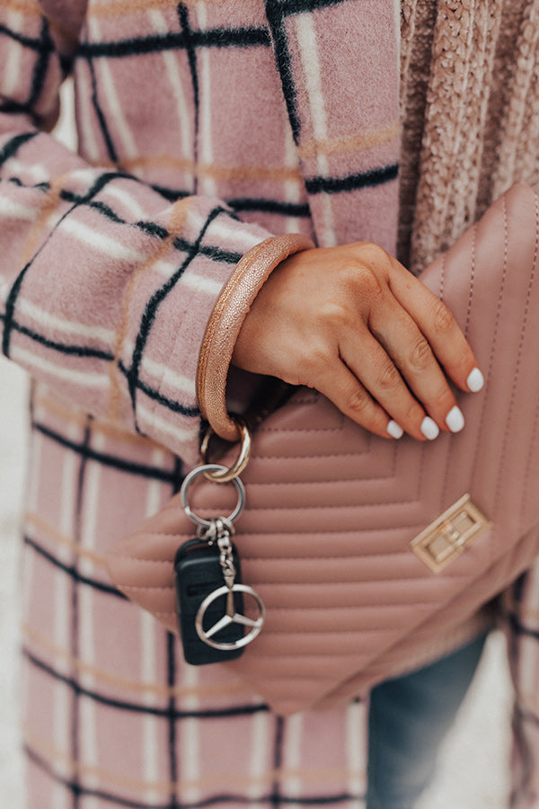 Extra Sparkles Faux Leather Key Chain in Rose Gold