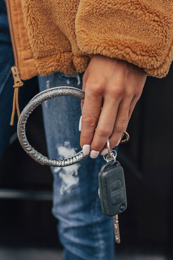 Extra Sparkles Faux Leather Key Chain in Silver