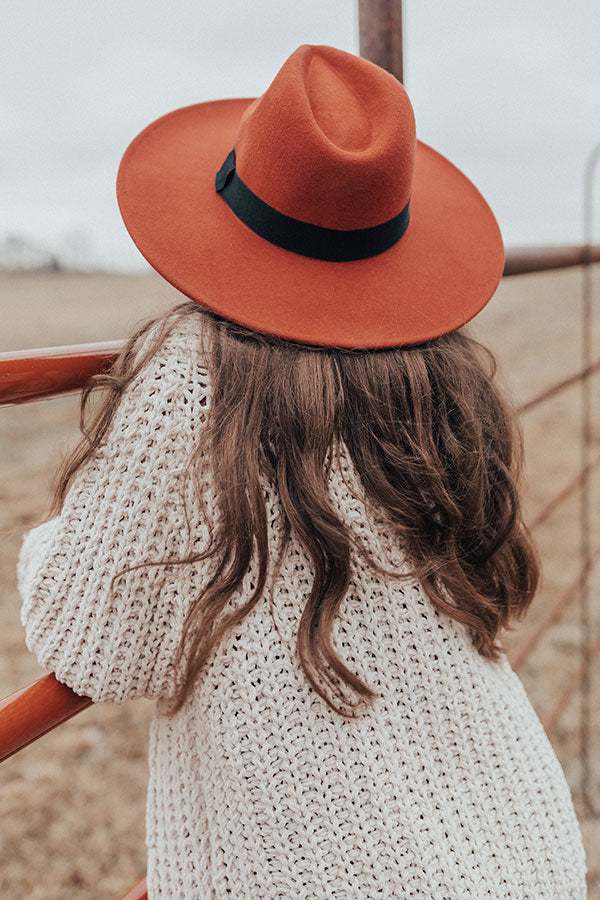 Vintage Vibes Felt Hat In Dark Rust