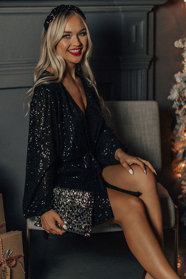 Spotlight Shine Sequin Wrap Dress in Black
