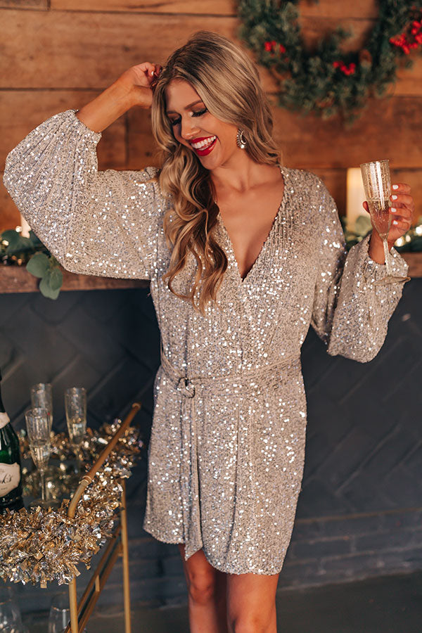 Spotlight Shine Sequin Wrap Dress in Silver