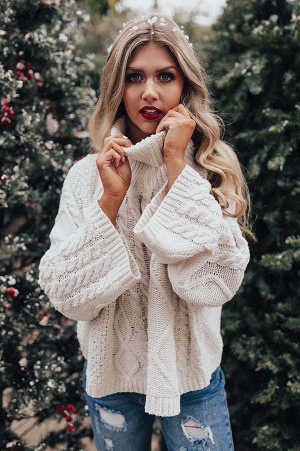 Snow In Love Cable Knit Sweater in Ivory