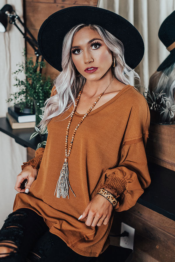 Chicest Of Times Shift Top In Cinnamon