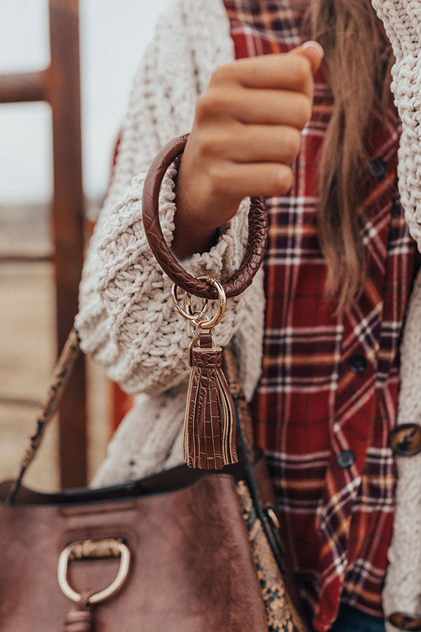 Girl On The Go Faux Leather Key Chain in Brown