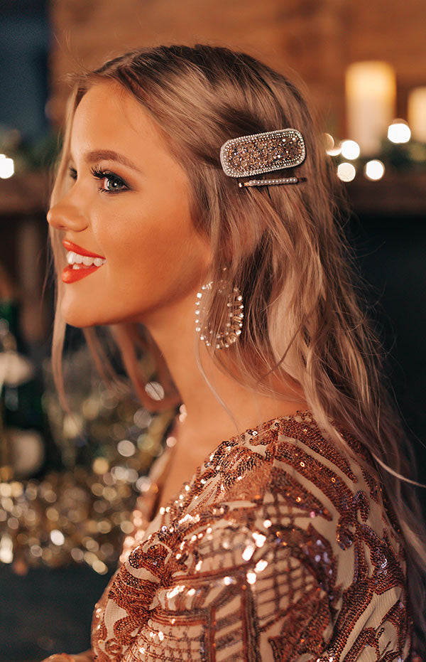 Pretty And Poised Rhinestone Hair Clip Set in Champagne