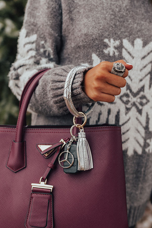 Girl On The Go Faux Leather Key Chain in Silver