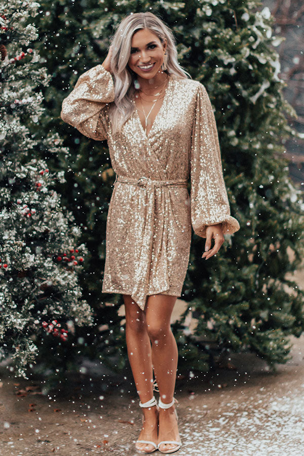 Spotlight Shine Sequin Wrap Dress in Gold