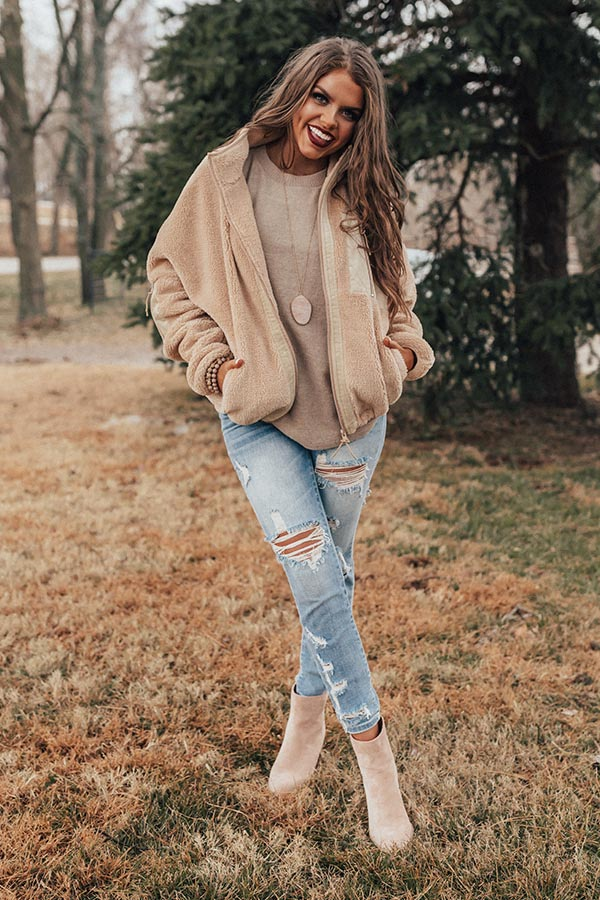 Slip Into Winter Jacket In Iced Latte