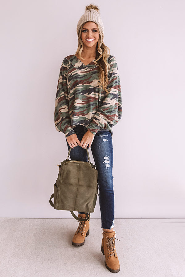 Thrill Of The Moment Camo Top