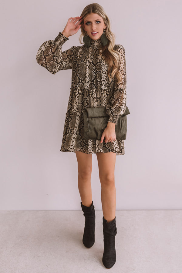 Champagne Showcase Snake Print Babydoll Dress
