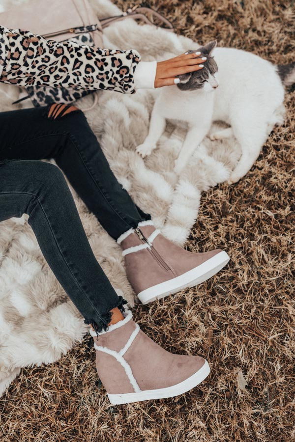 The Bryant Faux Suede Bootie In Taupe