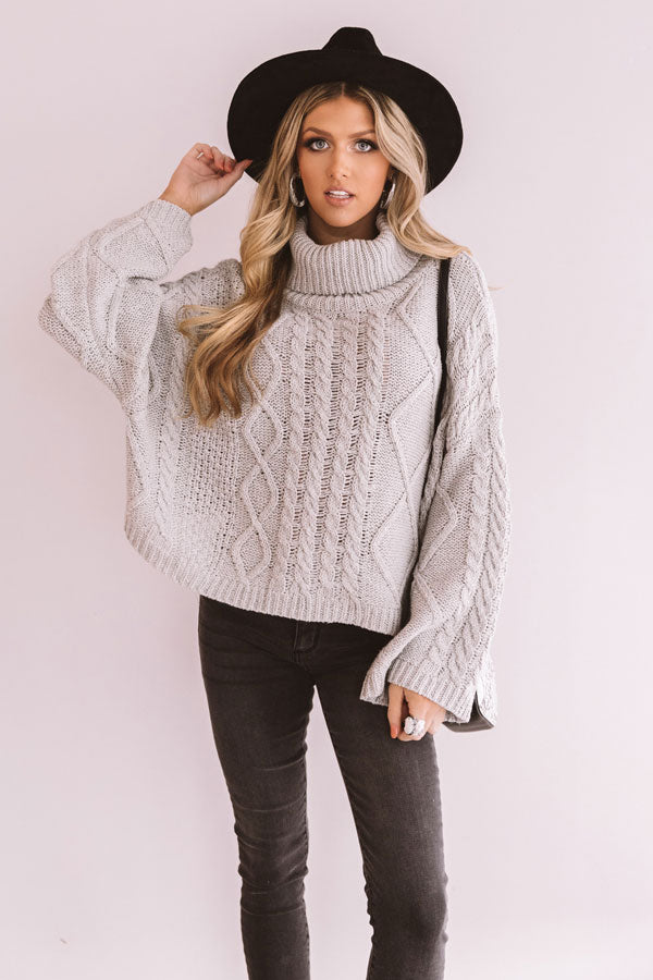 Snow In Love Cable Knit Sweater In Grey