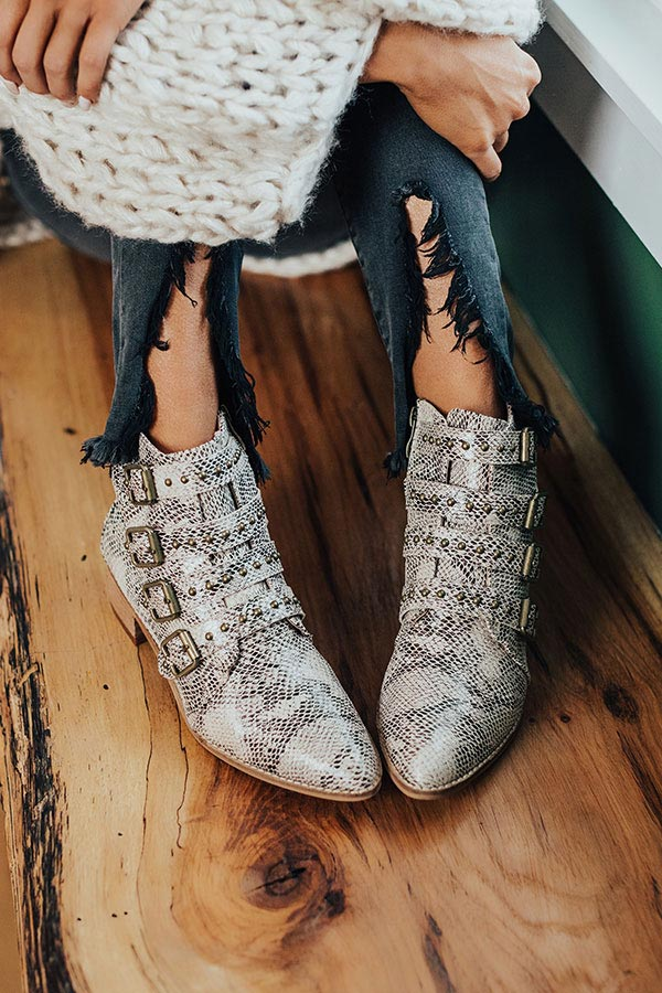 The Kissinger Snake Print Bootie
