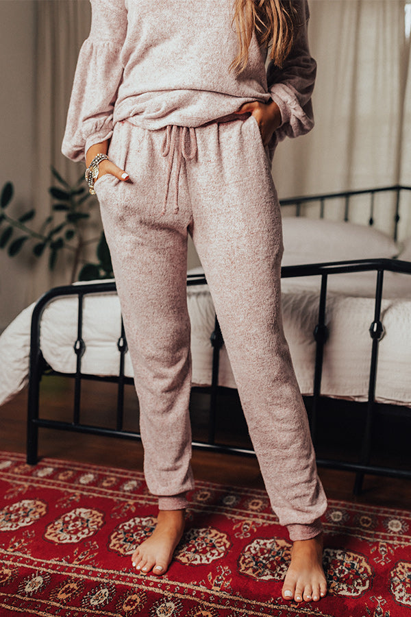 Let The Cozy Times Roll Joggers In Wine