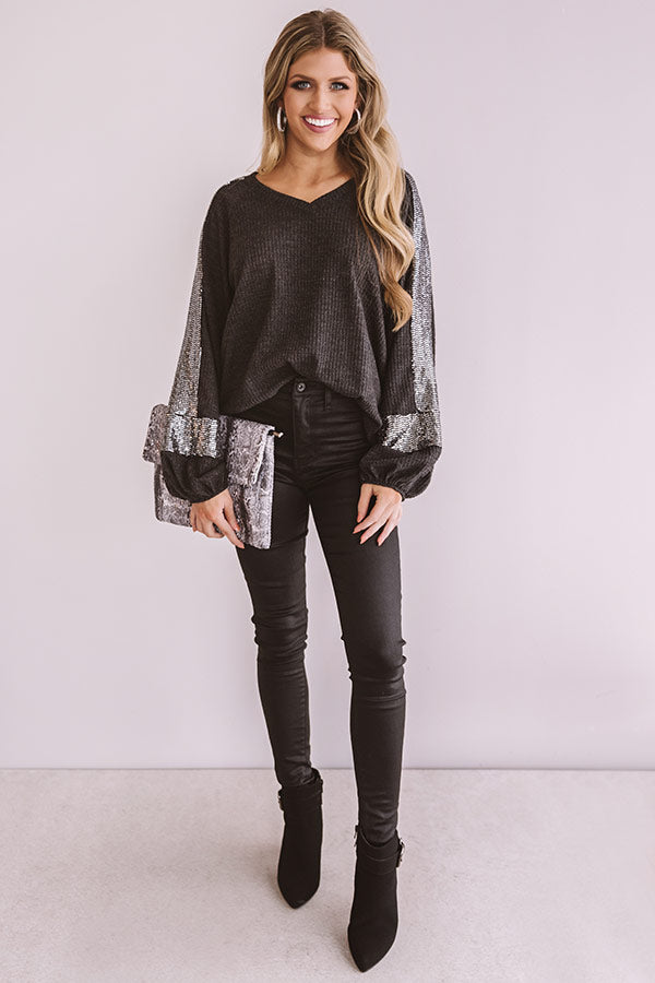 Ready Or Haute Waffle Knit Top In Black