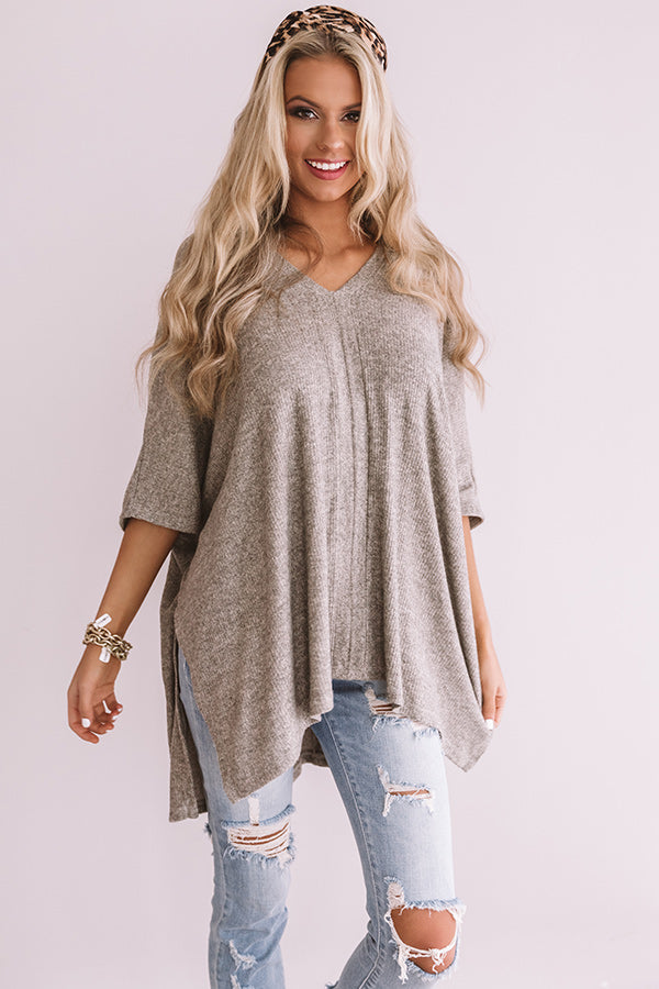 Pause For Perfection Shift Tunic In Taupe