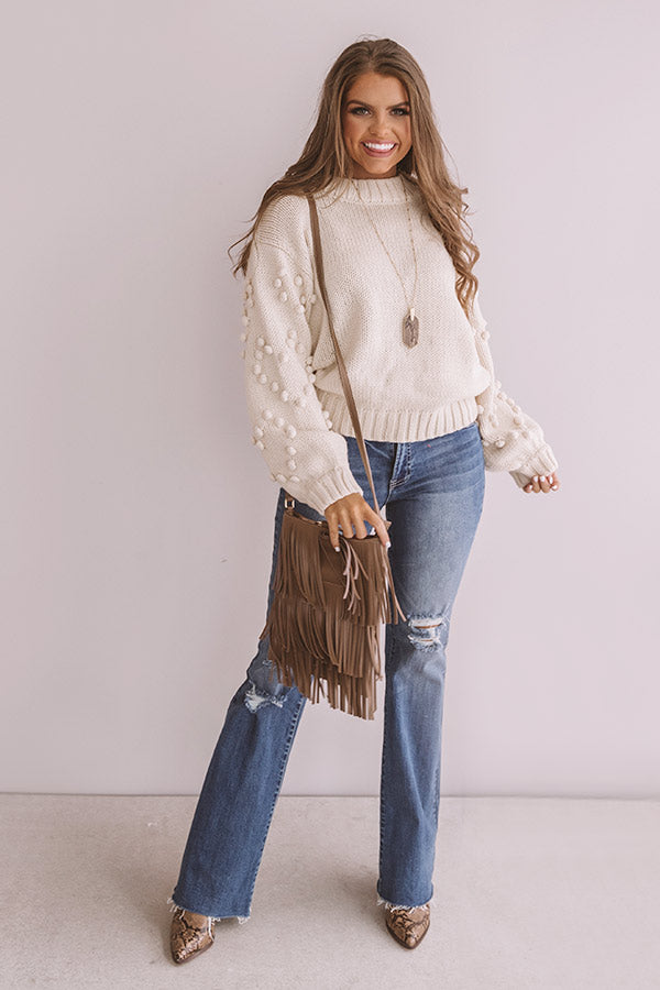 Fall For It Pom Pom Sweater In Cream