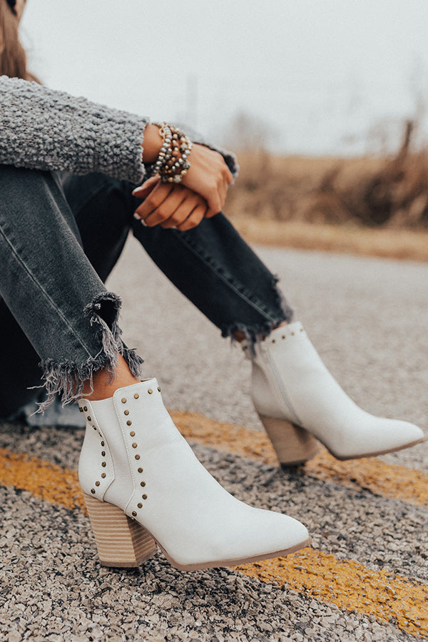 The Booker Faux Leather Bootie In Ivory