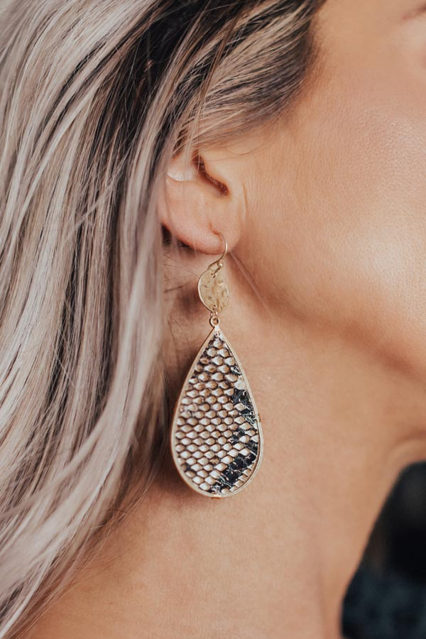 Big Finale Snake Print Earrings