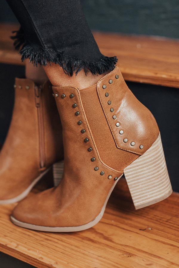The Booker Faux Leather Bootie In Brown