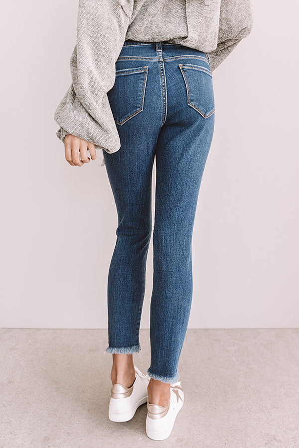 The Tess Midrise Distressed Ankle Skinny In Medium Wash