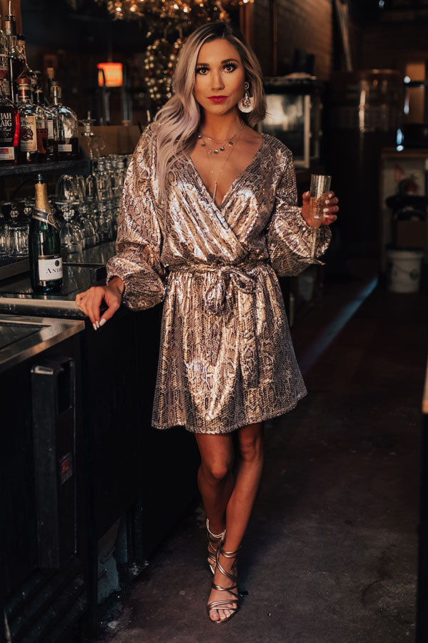 Run The Show Snake Print Sequin Dress