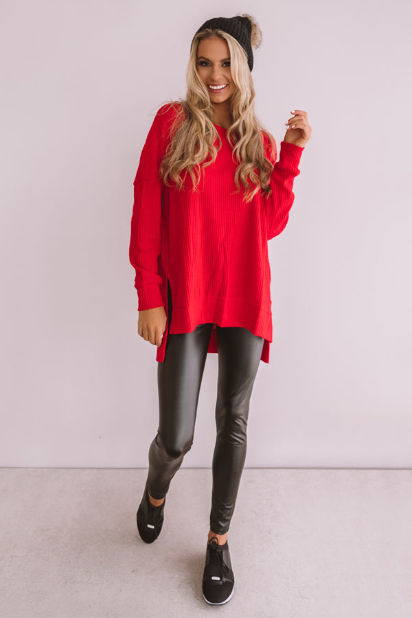 Craving Cozy Waffle Knit Tunic Top in Red