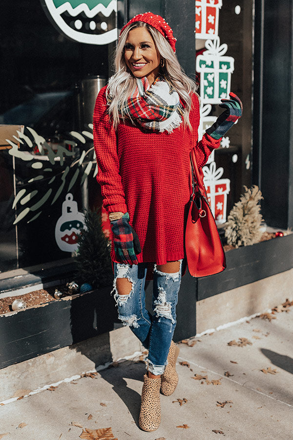 Holiday Feels Knit Sweater in Red