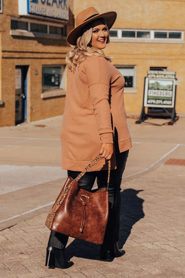 Craving Cozy Waffle Knit Tunic Top in Iced Mocha
