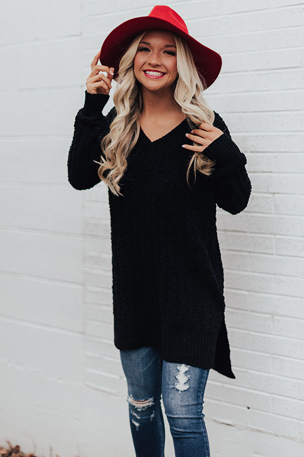 Swiss Flurries Popcorn Knit Sweater in Black