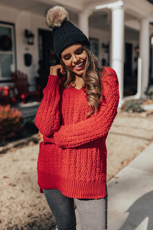 Swiss Flurries Popcorn Knit Sweater in Red
