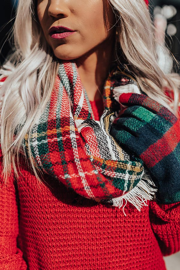 Falling In Love At The Lodge Plaid Scarf