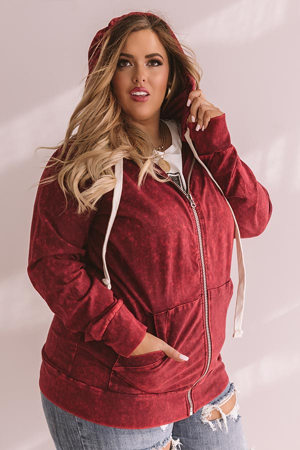 Weekends With You Mineral Wash Jacket in Wine