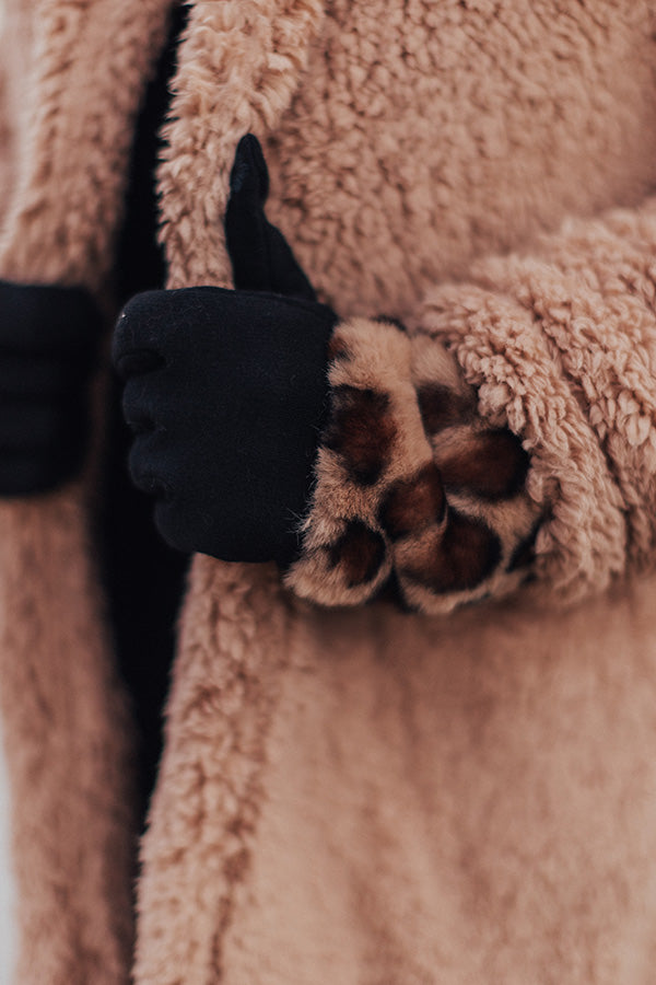 London Snowfall Smart Touch Leopard Gloves In Brown