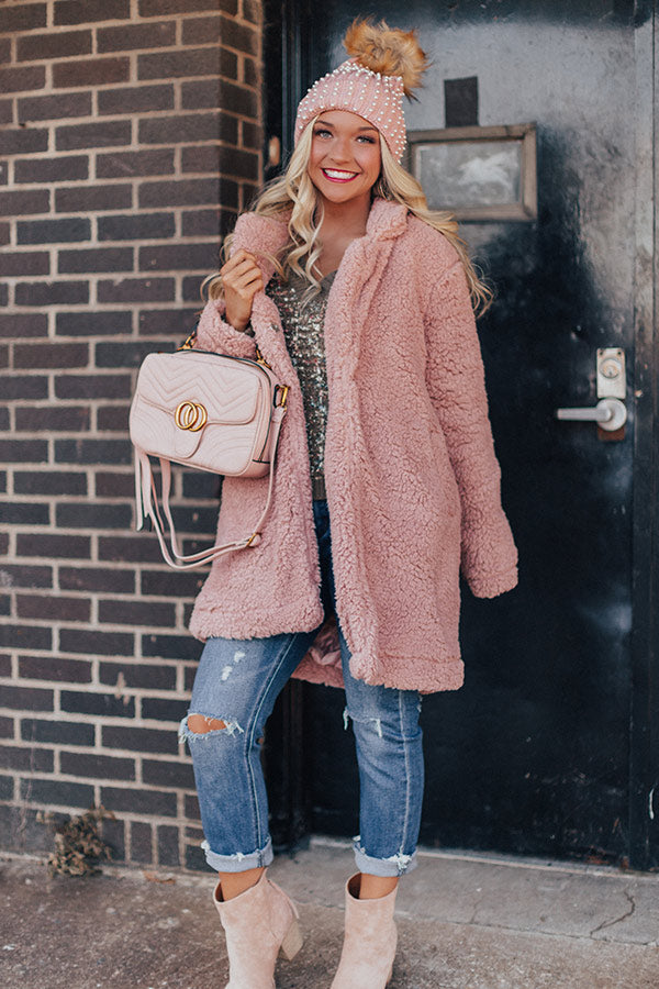 London Snowfall Sherpa Coat in Blush