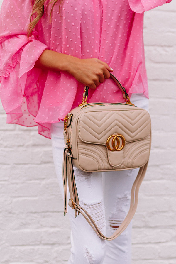 Bryant Park Views Quilted Crossbody In Iced Latte