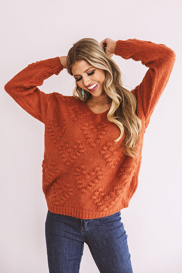 Romantic Mood Knit Sweater in Rust