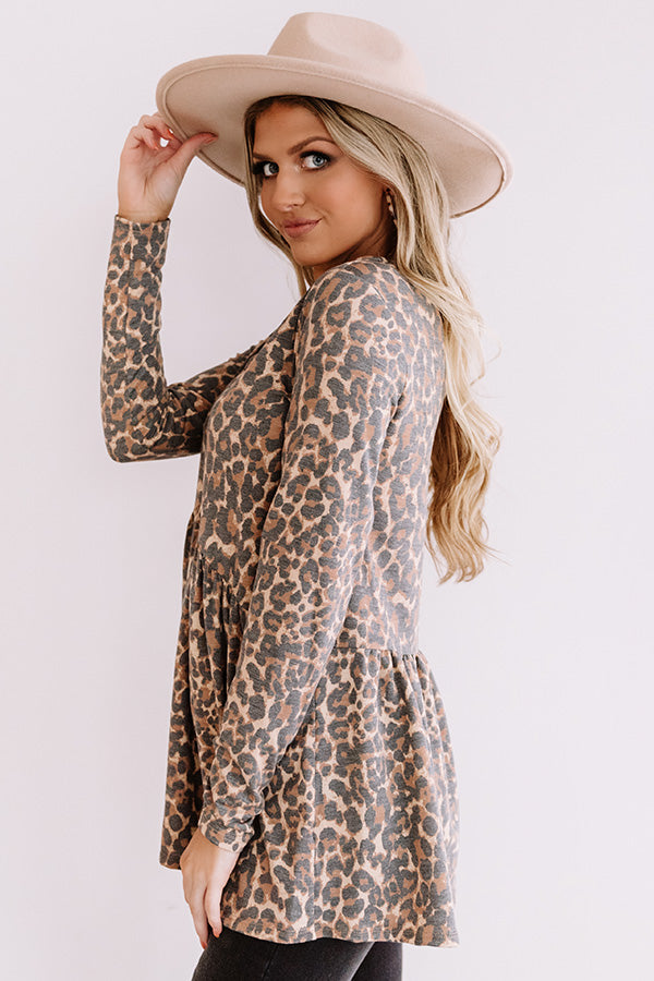 Fame Game Leopard Babydoll Top