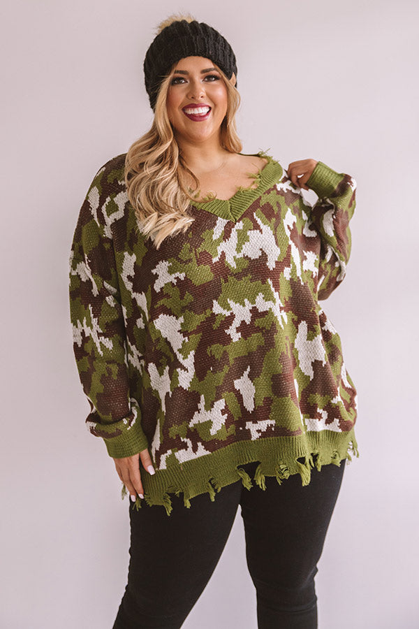 Kisses And Camo Knit Sweater