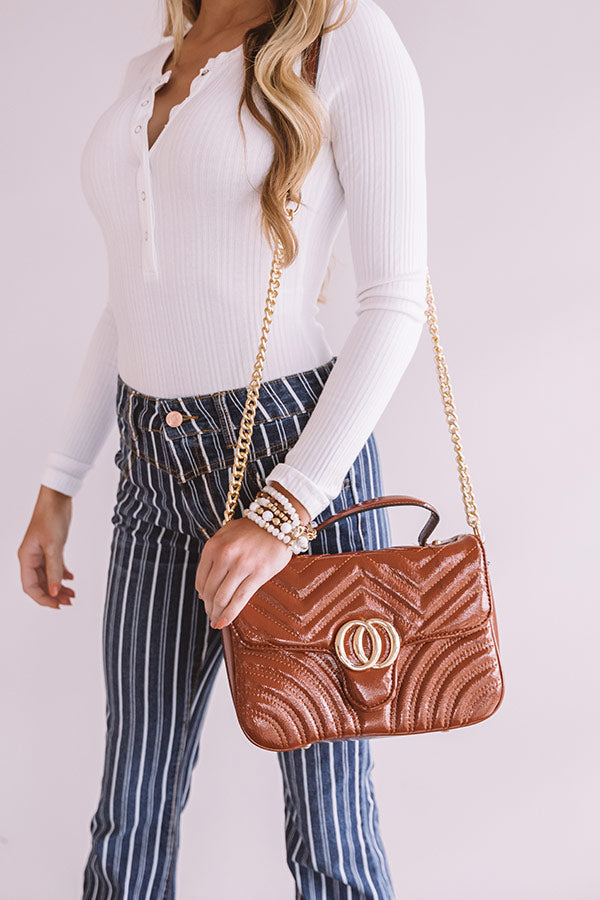 Blogger Meetup Patent Faux Leather Crossbody In Cinnamon