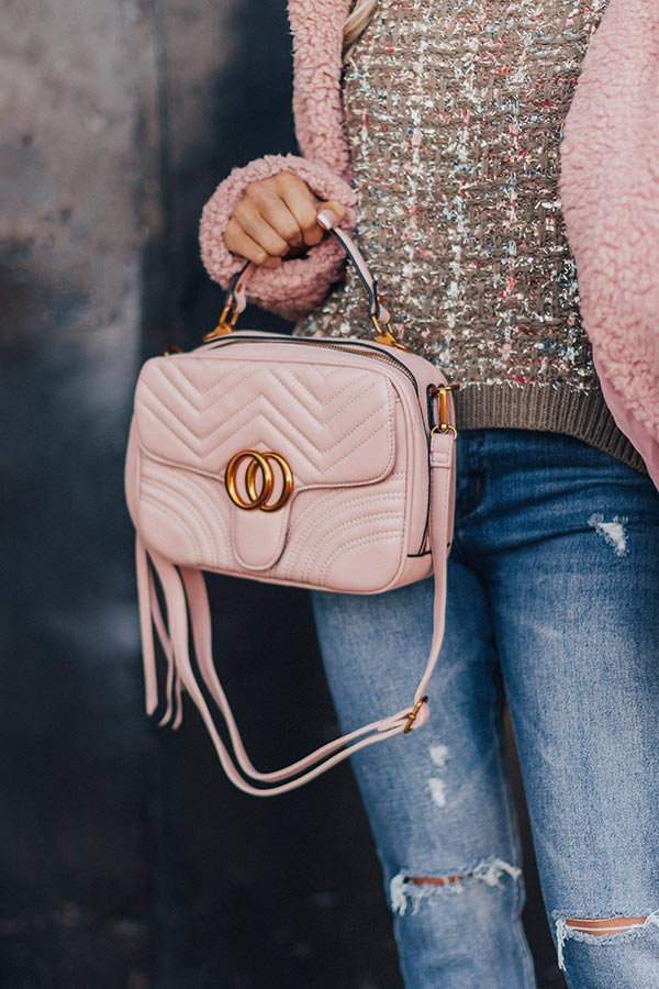 Bryant Park Views Quilted Crossbody In Blush