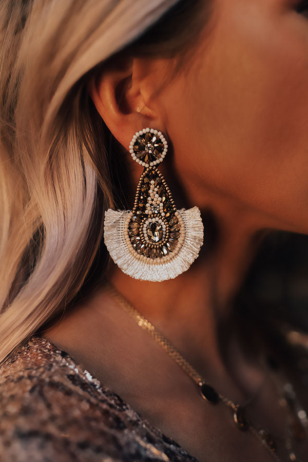 Major Flair Beaded Fan Earrings