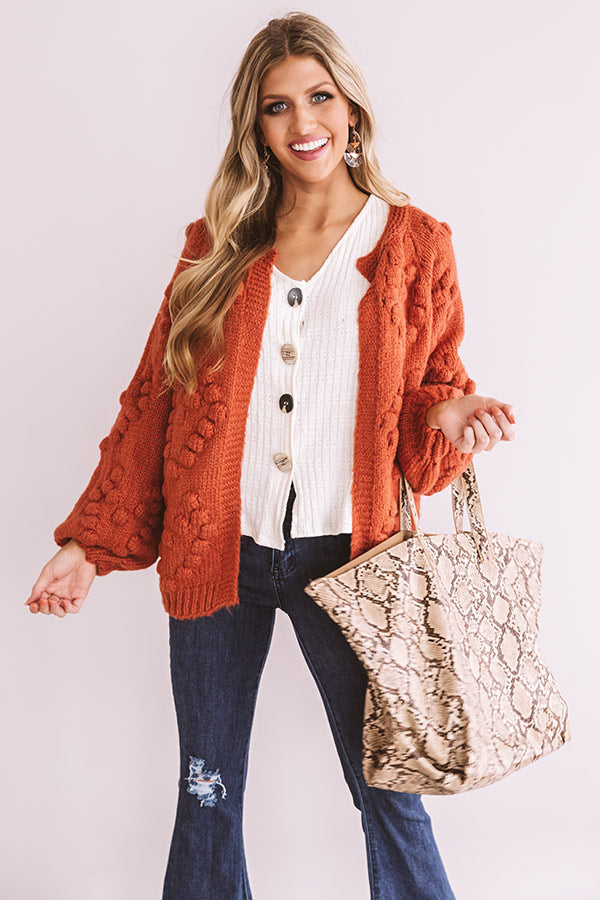 Romantic Mood Knit Cardigan in Rust