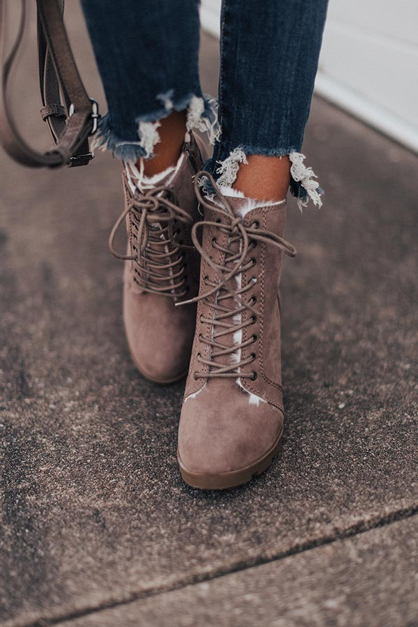 The Ashton Faux Fur Lined Boot In Taupe
